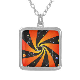 HYPNOTIC SPIRAL GALAXY SILVER PLATED NECKLACE
