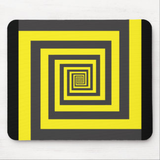 Hypnotic spiral in yellow and black mouse pad