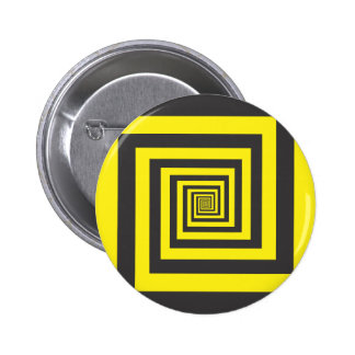 Hypnotic spiral in yellow and black pinback button