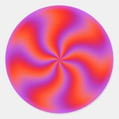 Hypnotic Spiral Optical Illusion Funny Neon Classic Round Sticker at Zazzle