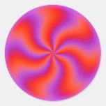 Hypnotic Spiral Optical Illusion Funny Neon Classic Round Sticker