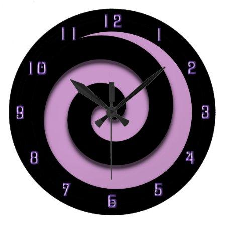 Hypnotic Spiral Purple w Purple Numbers Wall Clock Clock