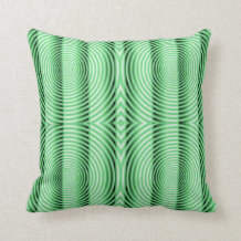 Hypnotic spirals green throw pillow