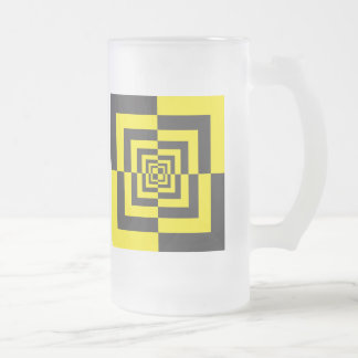 Hypnotic squares frosted glass beer mug