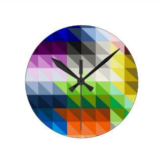 Hypnotic Triangles Round Clocks