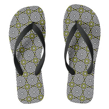 Beach Themed Hypnotic Yellow Flip Flops