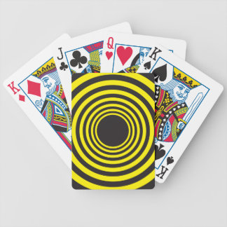 Hypnotic yellow on black descending circles bicycle playing cards