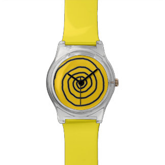 hypnotic yellow spiral time wrist watches
