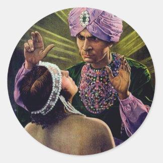 Hypnotist hypnotizes young woman...vintage! classic round sticker