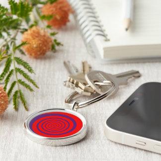 hypnotize red spiral Silver-Colored round keychain