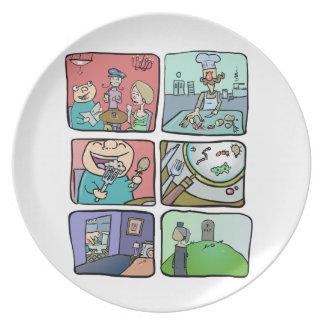 Hypochondriac Food Sickness Cartoon Dinner Plate