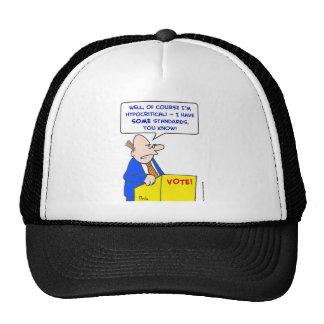 hypocritical vote standards trucker hats