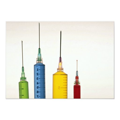 Hypodermic needles 5x7 paper invitation card
