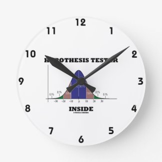 Hypothesis Tester Inside (Bell Curve Humor) Clocks