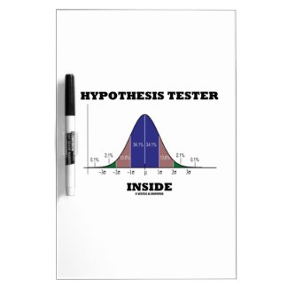 Hypothesis Tester Inside (Bell Curve Humor) Dry Erase White Board