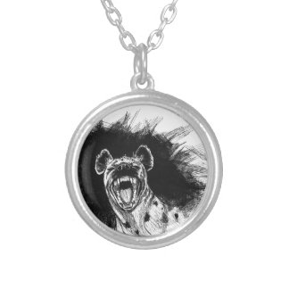 Hysterical Hyena Round Pendant Necklace