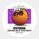 HYSTERICAL - Orange Classic Round Sticker