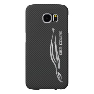 Hyundai Genesis Coupe - Silver on Faux Carbon Samsung Galaxy S6 Cases