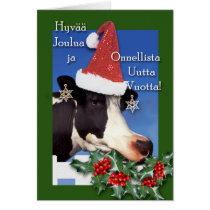 Hyvaa joulua, Christmas Cow with Santa Hat, Holly Card