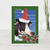 Hyvaa joulua, Christmas Cow with Santa Hat, Holly Holiday Card