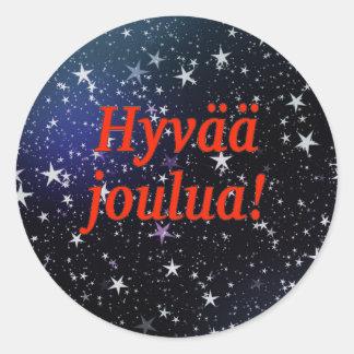 Hyvää joulua! Merry Christmas in Finnish rf Classic Round Sticker