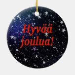 Hyvää joulua! Merry Christmas in Finnish rf Double-Sided Ceramic Round Christmas Ornament