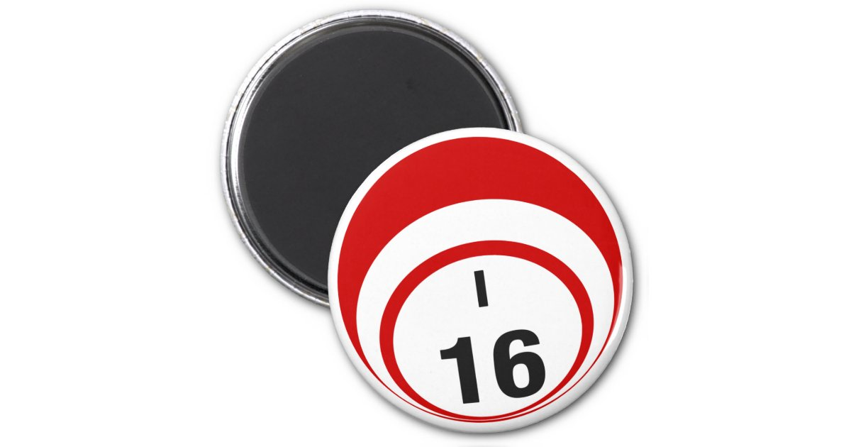 i16 bingo ball fridge magnet