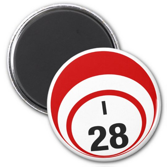 I28 bingo ball fridge magnet