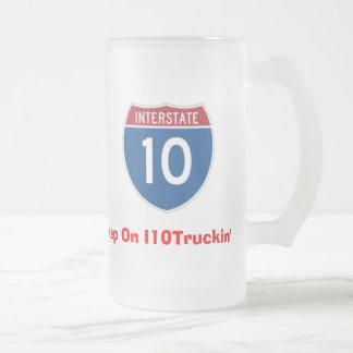 I 10 Trucking.com 16oz. Frosted Glass Beer Mug