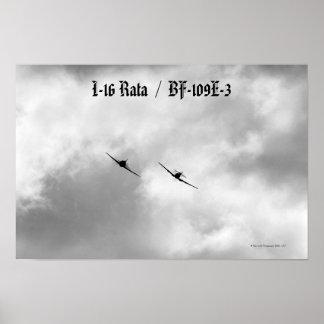 I-16 y Luftwaffe rusos Bf-109 Póster