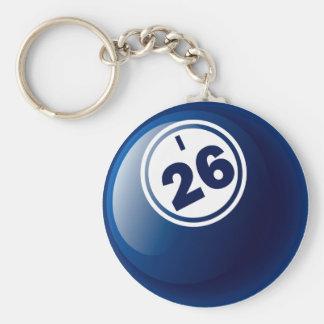 I 26 BINGO BALL BASIC ROUND BUTTON KEYCHAIN