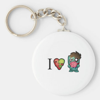 I <3 Brains- Zombies Are Everywhere! Basic Round Button Keychain