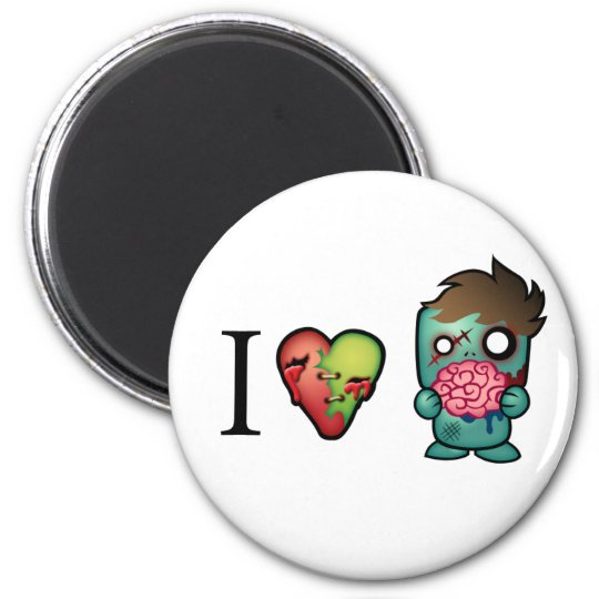 I <3 Brains- Zombies Are Everywhere! Magnet
