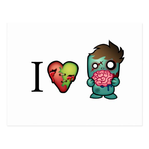I <3 Brains- Zombies Are Everywhere! Postcard