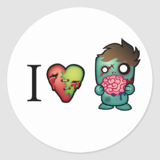I <3 Brains- Zombies Are Everywhere! Classic Round Sticker
