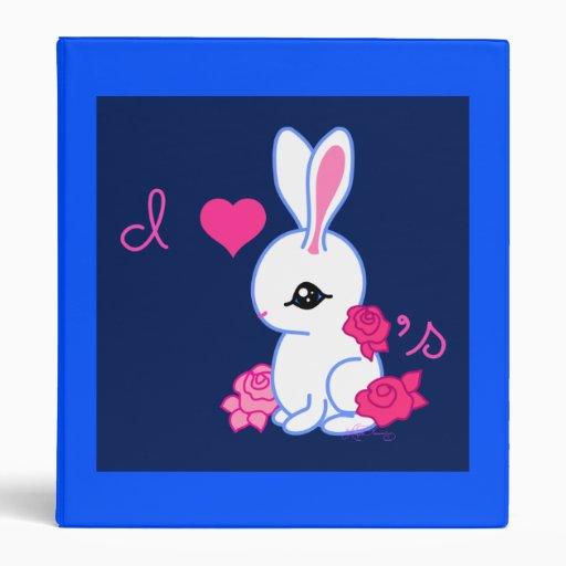 """I <3 bunnies"" pet rabbit album binder BLUE"