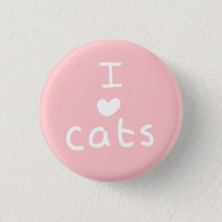 i <3 cats badge pinback button