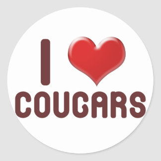 I 3 Cougars Round Stickers