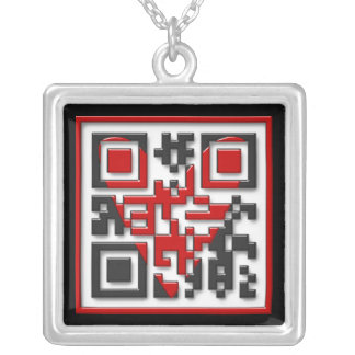 I <3 Geeks Square Pendant Necklace