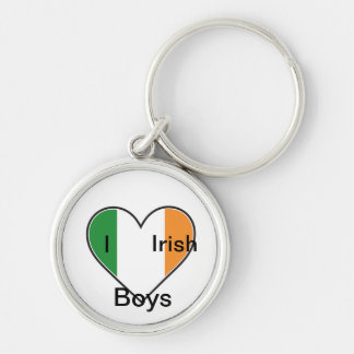 I <3 Irish Boys Silver-Colored Round Keychain