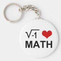 I <3 Math Basic Round Button Keychain