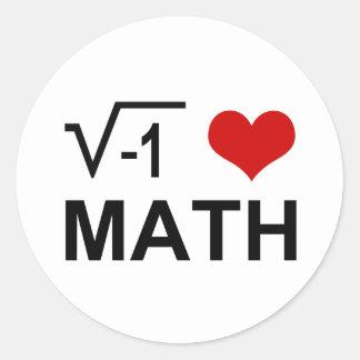 I <3 Math Classic Round Sticker
