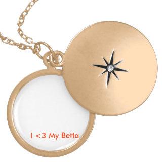 'I <3 My Betta' Customizable Locket-Gold Finish