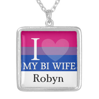 I <3 My Bi Wife Silver Plated Necklace