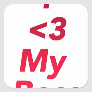 I <3 My Boss Square Sticker