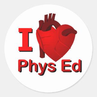 I <3 Phys Ed Classic Round Sticker