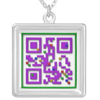 I <3 Pixels, I Heart Pixels Silver Plated Necklace