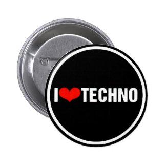 I <3 Techno Pinback Button