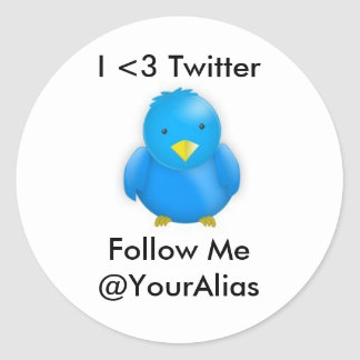 I <3 Twitter_Stickers Pegatina Redonda