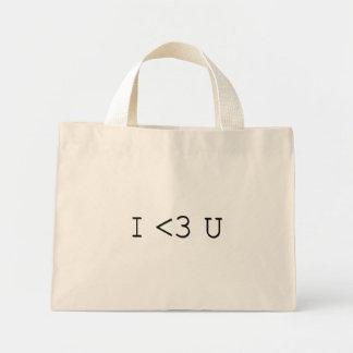 I <3 U Emoticon I Heart You Mini Tote Bag